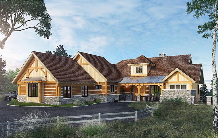Country Craftsman Tudor House Plan 43232 Elevation