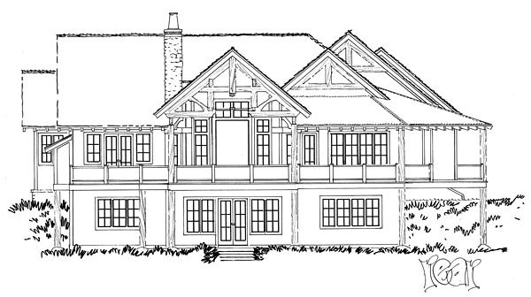Country Craftsman Tudor House Plan 43232 Rear Elevation