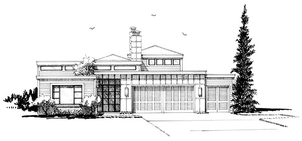 Contemporary, Modern House Plan 43233, 3 Car Garage Picture 1