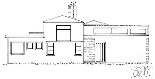 Contemporary , Modern , Rear Elevation of Plan 43233
