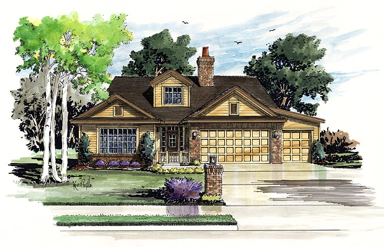 Traditional House Plan 43234 with 3 Beds, 4 Baths, 2 Car Garage Elevation