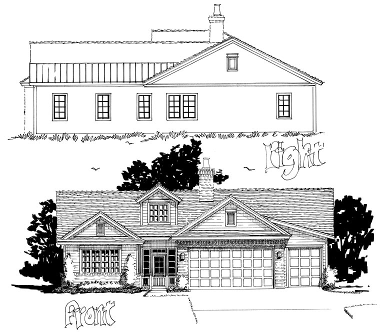 Traditional House Plan 43234 with 3 Beds, 4 Baths, 2 Car Garage Picture 1