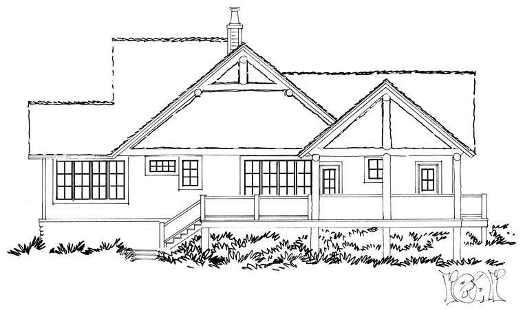 Bungalow Cottage Country Craftsman House Plan 43235 Rear Elevation