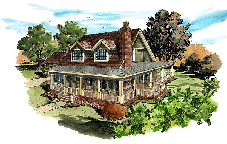 Country Farmhouse Southern Elevation of Plan 43237