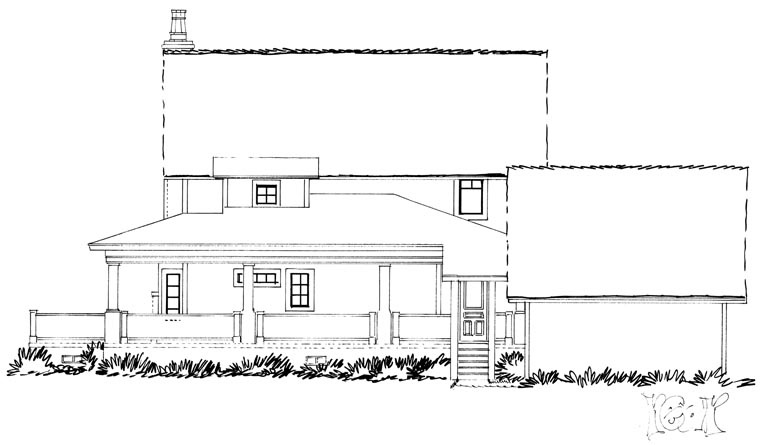 Country Farmhouse Southern Rear Elevation of Plan 43237