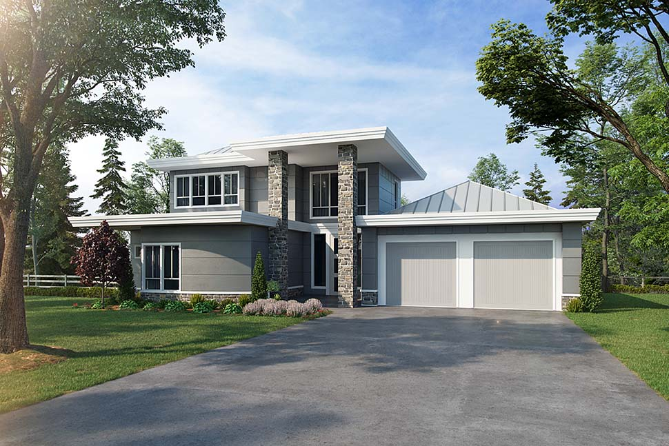 Contemporary, Modern House Plan 43239 with 3 Beds, 3 Baths, 2 Car Garage Elevation