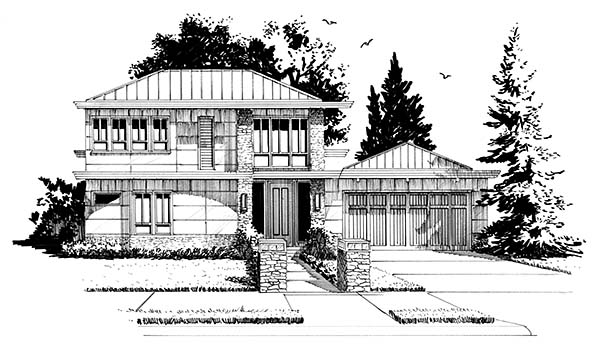 Contemporary, Modern House Plan 43239 with 3 Beds, 3 Baths, 2 Car Garage Picture 3