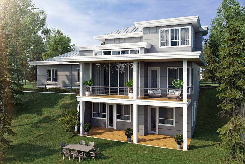 Contemporary, Modern House Plan 43239 with 3 Beds, 3 Baths, 2 Car Garage Rear Elevation