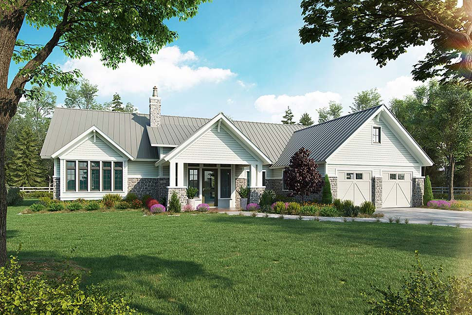 Country, Farmhouse House Plan 43240 with 3 Beds, 3 Baths, 2 Car Garage Front Elevation
