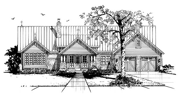 Country, Farmhouse House Plan 43240 with 3 Beds, 3 Baths, 2 Car Garage Picture 3