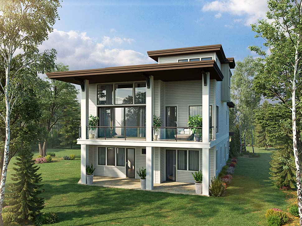 Modern , Contemporary House Plan 43241 with 4 Beds, 5 Baths, 2 Car Garage Rear Elevation