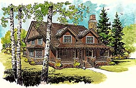Country , Cottage , Cabin House Plan 43242 with 3 Beds, 2 Baths Elevation