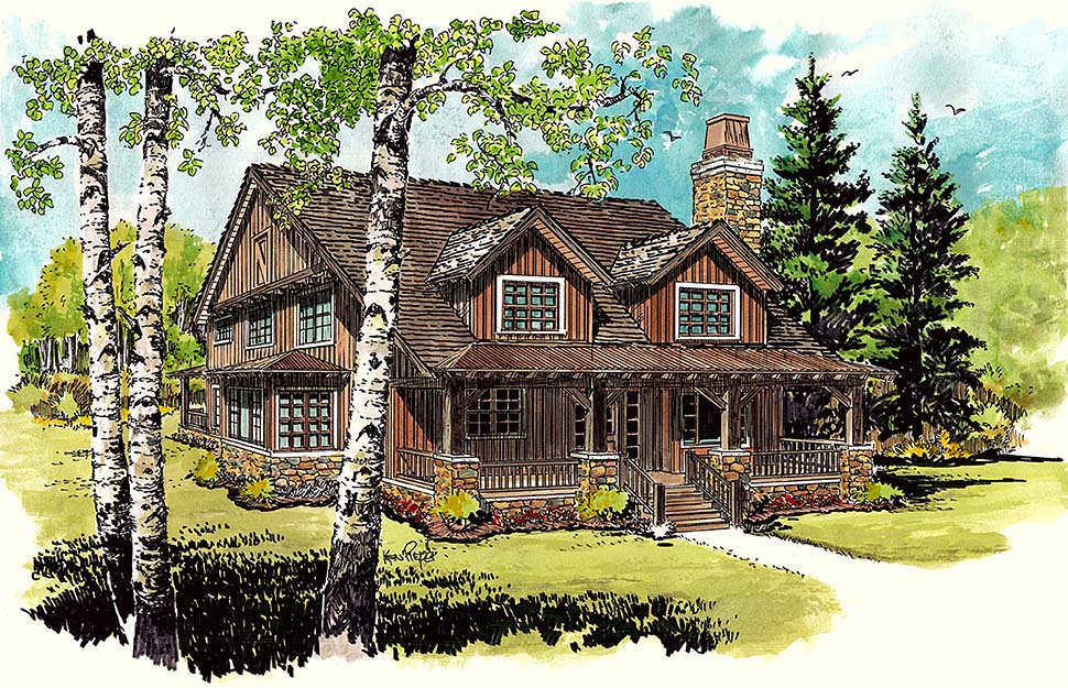 Cabin, Cottage, Country House Plan 43242 with 3 Beds, 2 Baths Elevation
