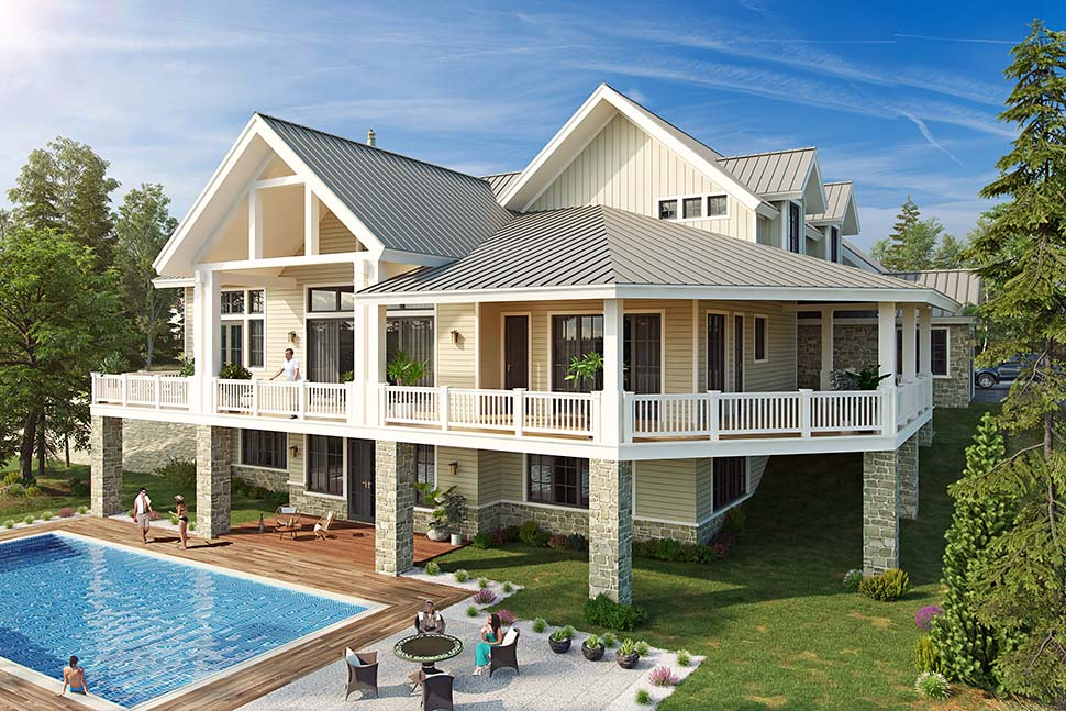 Country Farmhouse Traditional House Plan 43243 Rear Elevation