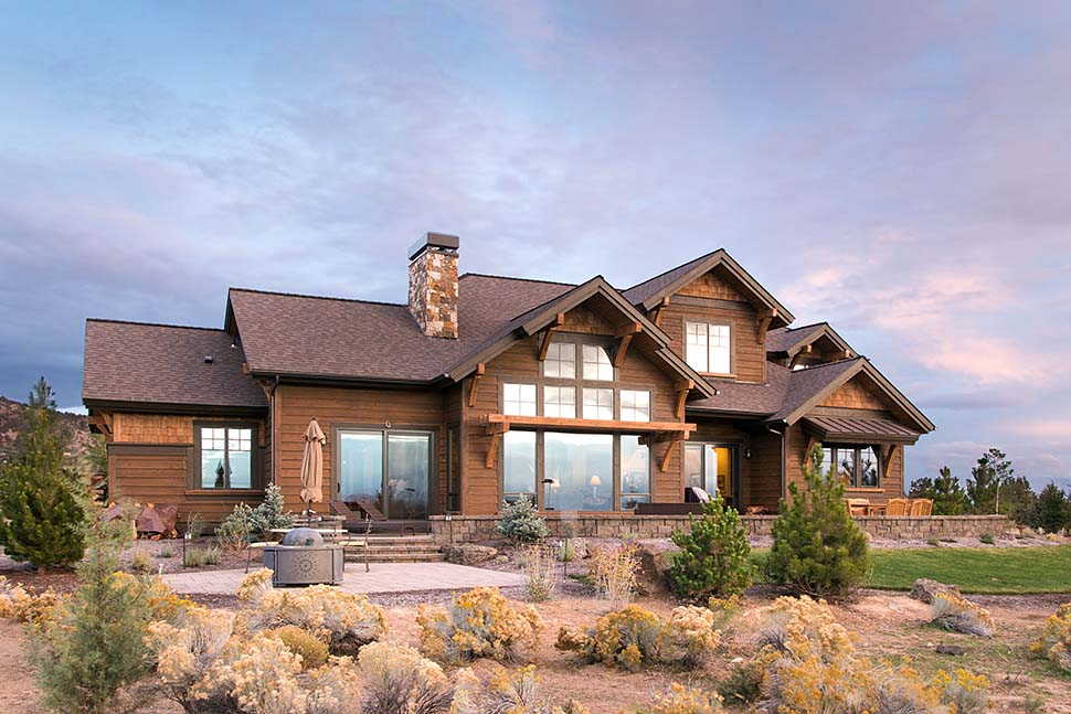 Craftsman , Country House Plan 43301 with 3 Beds, 5 Baths, 3 Car Garage Rear Elevation