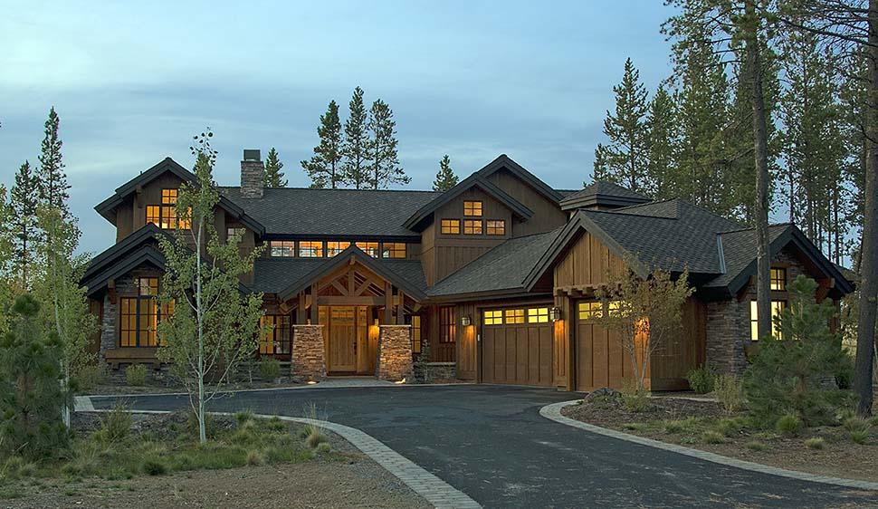 Craftsman, Modern, Prairie, Tuscan House Plan 43307 with 4 Beds, 5 Baths, 3 Car Garage Front Elevation