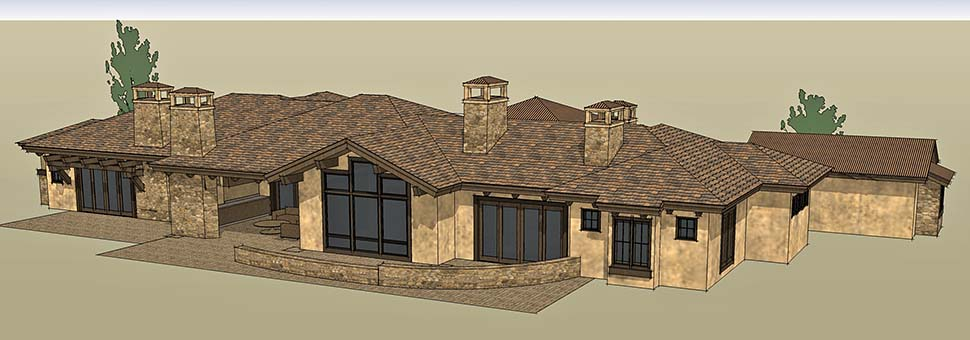Tuscan House Plan 43309 with 3 Beds, 4 Baths, 3 Car Garage Picture 4