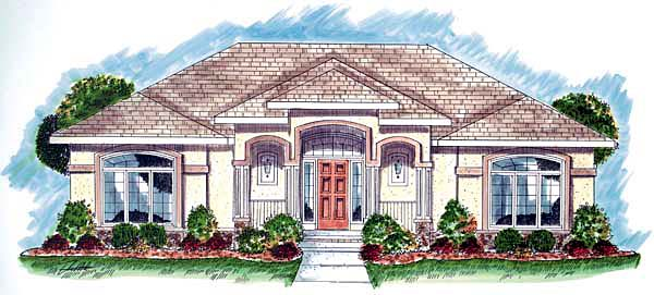 Florida , Mediterranean , Southwest House Plan 44000 with 2 Beds, 2 Baths, 2 Car Garage Elevation