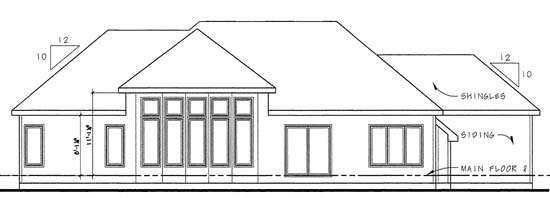 Traditional House Plan 44001 with 3 Beds, 2 Baths, 3 Car Garage Rear Elevation
