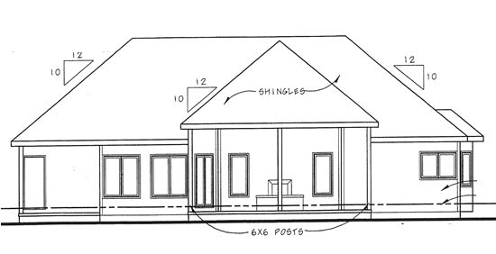 Traditional Rear Elevation of Plan 44005