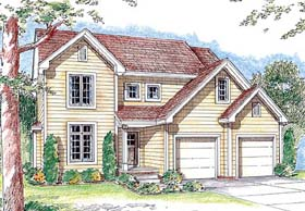House Plan 44010 | Country Traditional Style Plan with 1641 Sq Ft, 3 Bedrooms, 3 Bathrooms, 2 Car Garage Elevation