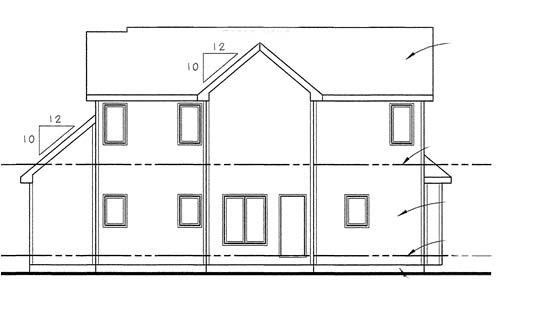 House Plan 44010 | Country Traditional Style Plan with 1641 Sq Ft, 3 Bedrooms, 3 Bathrooms, 2 Car Garage Rear Elevation