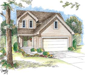 Traditional House Plan 44011 with 3 Beds, 3 Baths, 2 Car Garage Elevation