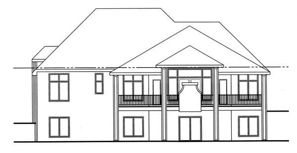 European House Plan 44013 Rear Elevation