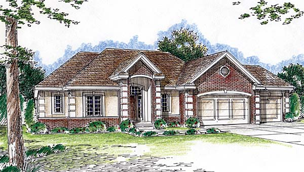 House Plan 44015 | Traditional Style Plan with 1951 Sq Ft, 3 Bedrooms, 2 Bathrooms, 3 Car Garage Elevation