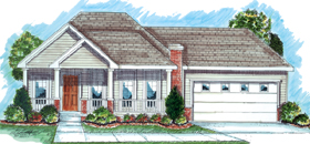 House Plan 44021 | Traditional Style Plan with 1586 Sq Ft, 2 Bedrooms, 2 Bathrooms, 2 Car Garage Elevation