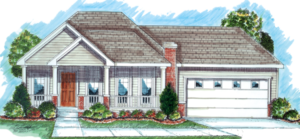 One-Story, Traditional House Plan 44021 with 2 Beds, 2 Baths, 2 Car Garage Elevation