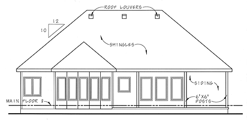 Bungalow Traditional House Plan 44023 Rear Elevation