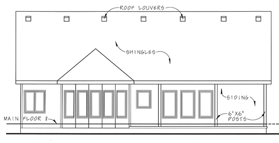 Bungalow Traditional House Plan 44024 Rear Elevation