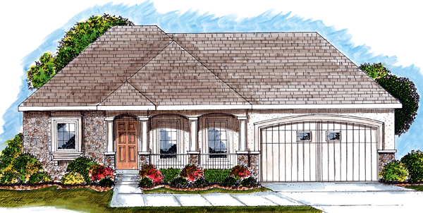 House Plan 44028 | Mediterranean Traditional Style Plan with 1696 Sq Ft, 2 Bedrooms, 2 Bathrooms, 2 Car Garage Elevation