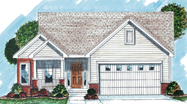 One-Story, Traditional House Plan 44035 with 2 Beds, 2 Baths, 2 Car Garage Elevation
