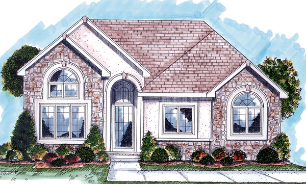 European, One-Story, Traditional House Plan 44036 with 2 Beds, 2 Baths, 2 Car Garage Elevation