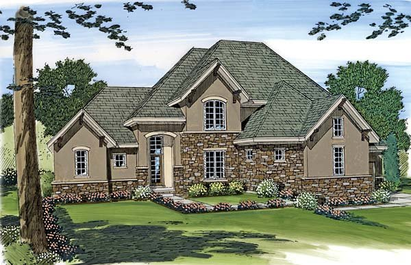 House Plan 44039 | European Style Plan with 2843 Sq Ft, 4 Bed, 4 Bath, 3 Car Garage Elevation