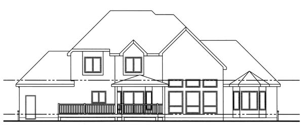 European House Plan 44039 Rear Elevation
