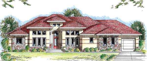 Florida Mediterranean Southwest House Plan 44042 Elevation