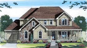 House Plan 44043 | Country Farmhouse Traditional Style Plan with 2150 Sq Ft, 3 Bedrooms, 3 Bathrooms, 3 Car Garage Elevation