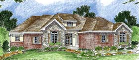 House Plan 44046   Bungalow European Traditional Style Plan with 2187 Sq Ft, 3 Bedrooms, 3 Bathrooms, 3 Car Garage Elevation