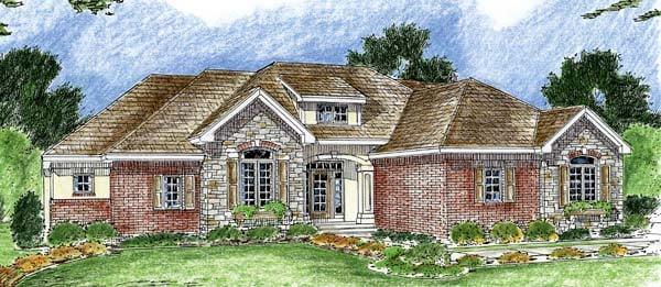 Bungalow European Traditional House Plan 44046 Elevation