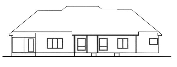 Bungalow European Traditional House Plan 44046 Rear Elevation