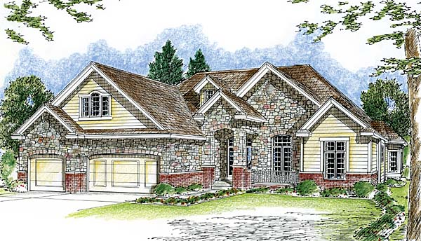 House Plan 44049 | European, Traditional Style House Plan with 2862 Sq Ft, 1 Bed, 2 Bath, 3 Car Garage Elevation