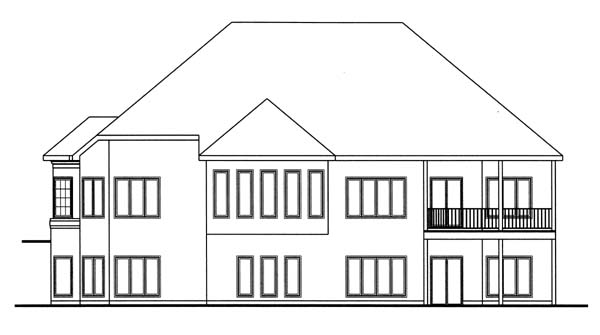 House Plan 44049 | European, Traditional Style House Plan with 2862 Sq Ft, 1 Bed, 2 Bath, 3 Car Garage Rear Elevation