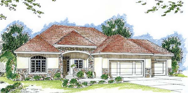 Florida Mediterranean Southwest House Plan 44050 Elevation
