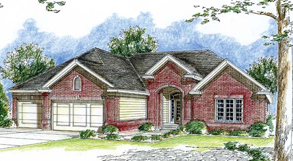 Traditional House Plan 44052 with 2 Beds, 2 Baths, 3 Car Garage Elevation