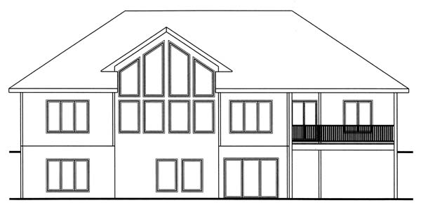 Traditional House Plan 44052 with 2 Beds, 2 Baths, 3 Car Garage Rear Elevation
