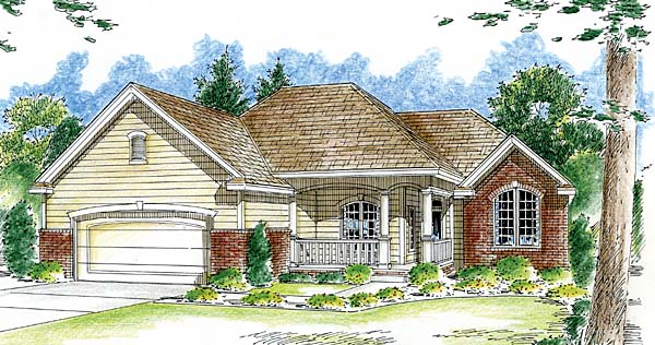 House Plan 44053   Traditional Style Plan with 1815 Sq Ft, 3 Bedrooms, 2 Bathrooms, 2 Car Garage Elevation