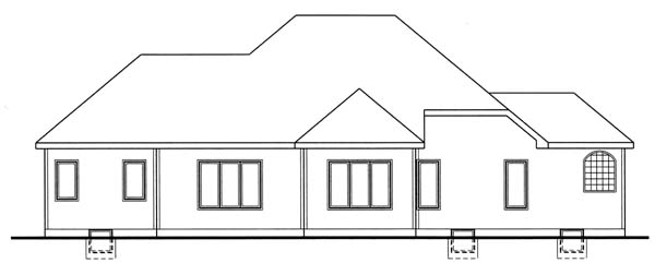 House Plan 44053   Traditional Style Plan with 1815 Sq Ft, 3 Bedrooms, 2 Bathrooms, 2 Car Garage Rear Elevation